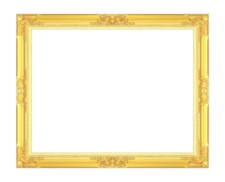 Gold antique picture frame isolated on white background.