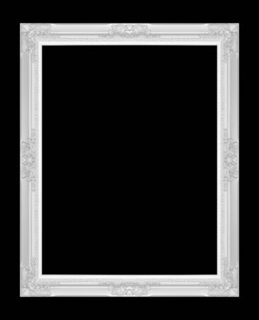 Silver antique picture frame isolated on black background.