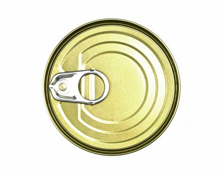 One can of canned food isolated on white background. for quarantine period.