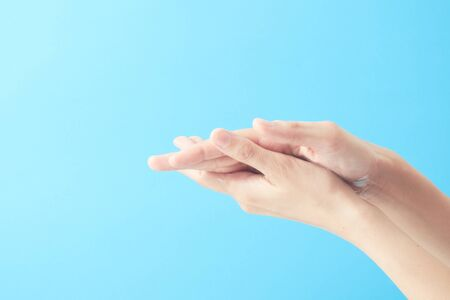 Close up hands using wash hand sanitizer gel. The washing and cleaning of hands to prevent virus infection for prevent covid-19.