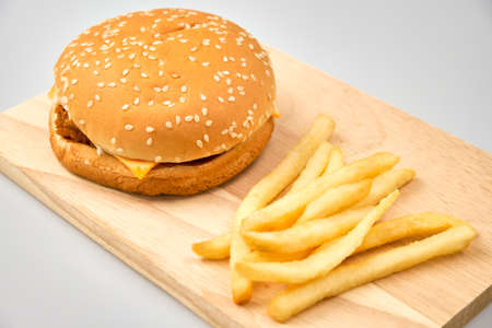 Fast food with hamburger on white background