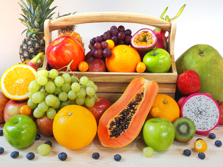 Colorful fresh fruits and vegetables background, healthy eating concept. Archivio Fotografico - 107014631