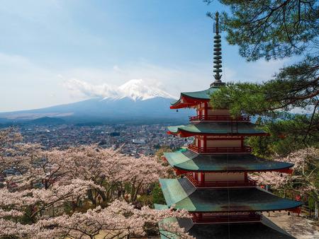 chureito: Fuji mt. with Chureito pagoda  Kawaguchiko  Japan Stock Photo