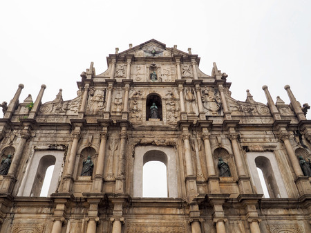 st pauls: Ruins of St. Pauls , one of Macao best known landmarks. A UNESCO World Heritage. Stock Photo