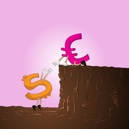 pull up: Euro aiuto usd per tirare su dalla collina Vettoriali