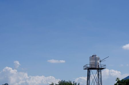 backgruond: the water tank with sky Stock Photo