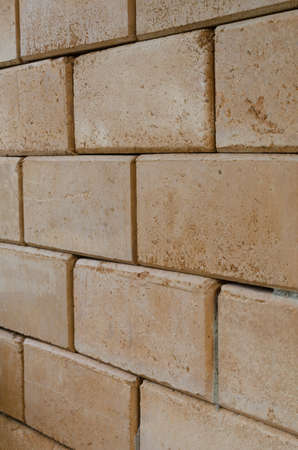 red wall: red brick wall pattern Stock Photo