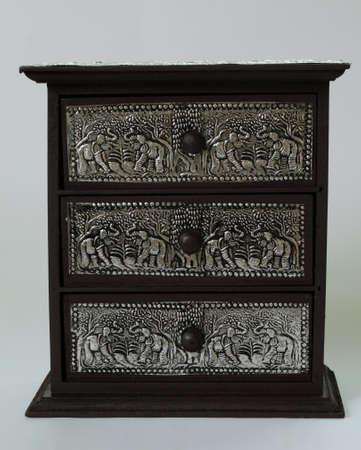 silverware: plata tailandesa caj�n de madera, patr�n de belleza