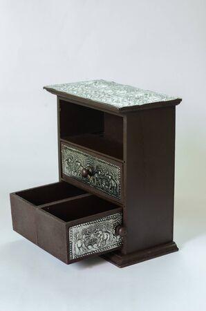 cubiertos de plata: plata tailandesa caj�n de madera, patr�n de belleza