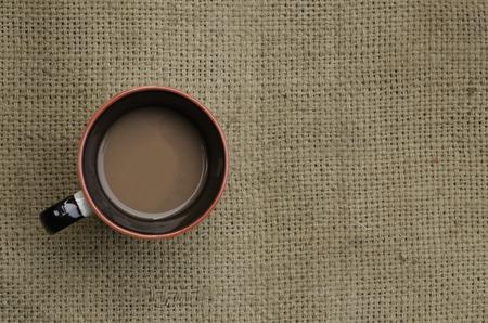 sackcloth: coffee on sackcloth Stock Photo