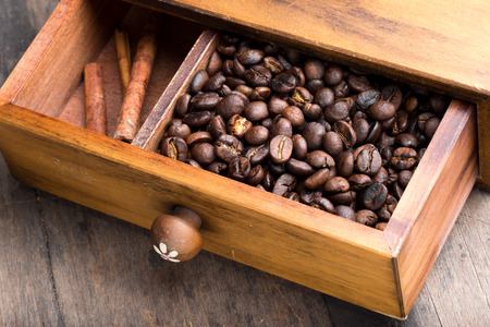 drawer: coffee beans in drawer