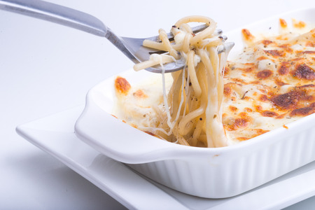 chees: Spaghetti with baked chees and Spinach
