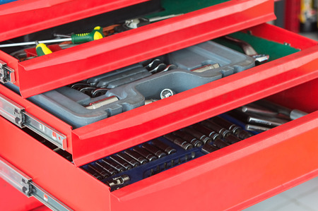 working tools: red tool drawer