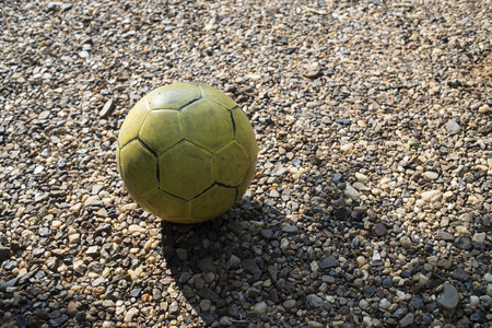 old yellow football Stock Photo