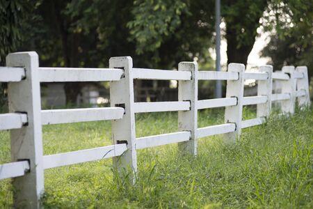 fence: white fence Stock Photo