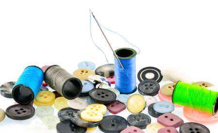 needle and thread: Needle, thread, buttons
