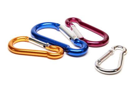 karabiner: Loops of rope climbing Stock Photo