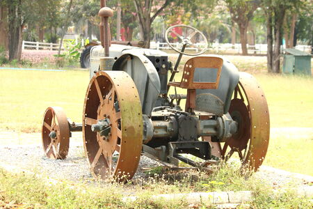 old tractor in field photo