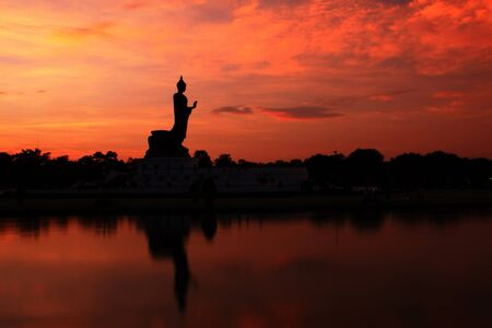 Buddha statue in the evening which is located at Phutthamonthon in Nakhon Pathom, Thailand photo