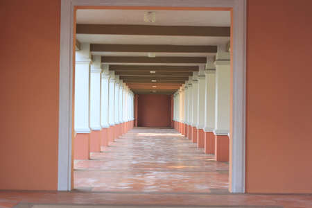 The corridor in the building is a long line Stok Fotoğraf