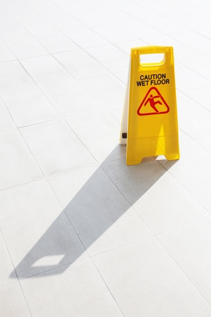 janitorial: caution wet floor Stock Photo