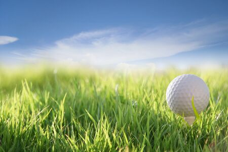 golf on the green field Stock Photo
