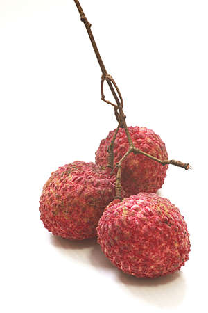 3 lychee on the white background