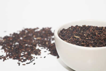 black rice in a white cup