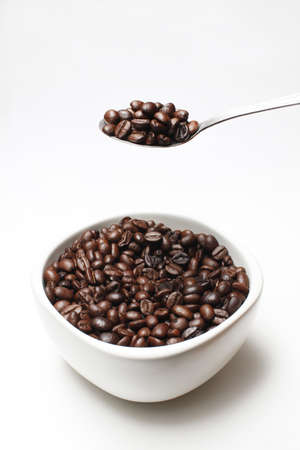 coffe beans in awhite cup Stock Photo - 16751324