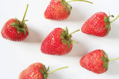 red strawberry on the white background
