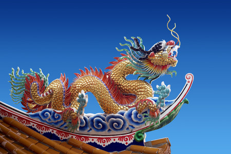 the chinese style roof on the blue background