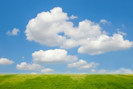 ozone layer: Blue sky and cloud and grass
