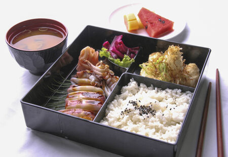 Japanese bento set served with soup and fruit