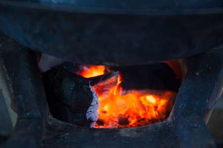 smolder: Burning charcoal