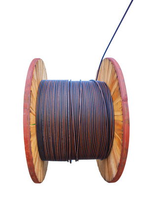 fiberoptic: Huge electric cable roll use for high voltage Stock Photo