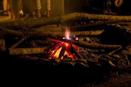 Camping campfire, long weekend holiday Stock Photo