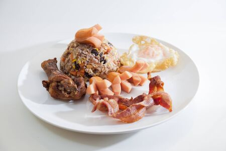 American fried rice, breakfast set