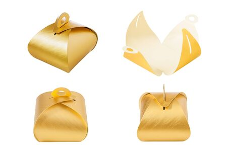 Gold gift box set on isolate white background