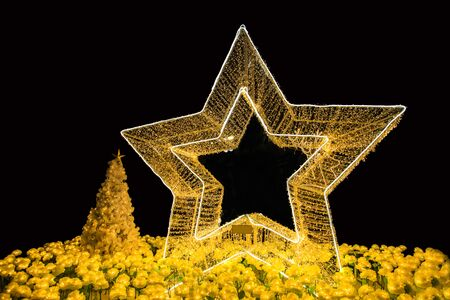Star christmas lighting night background