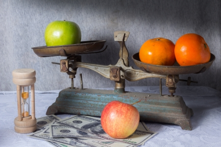 antique scales: Selling fruit