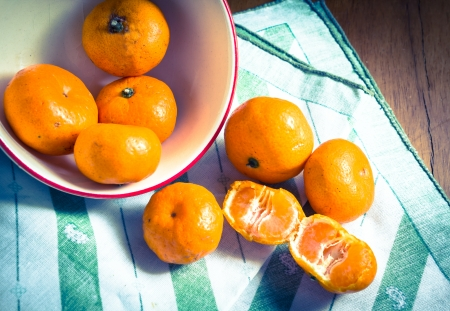 Oranges,still life and vintage light style  Stock Photo