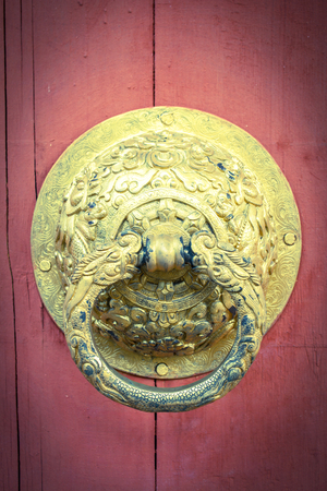 Door knob,Bhutan  and vintage style light,art background  photo