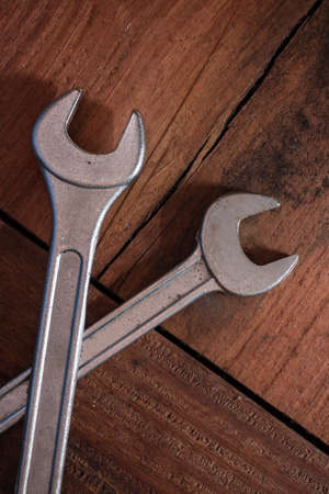 Closeup and top view of wrenches,still life. photo
