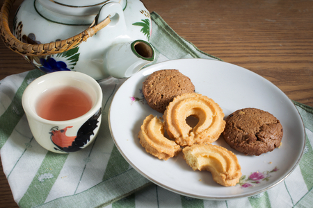 Cookies with tea kit,food background. photo