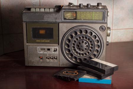 Old retro radio with cassette,still life. photo