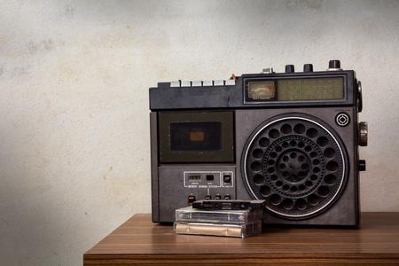 Still life Old retro radio with cassette. photo