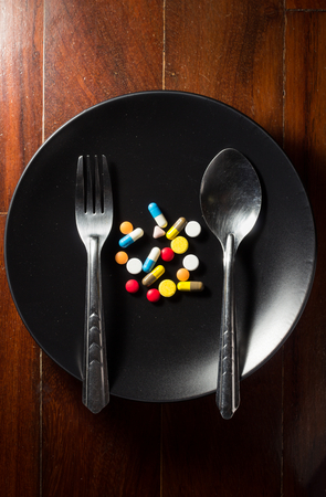 Medicine on dish for eat,medical concept. photo