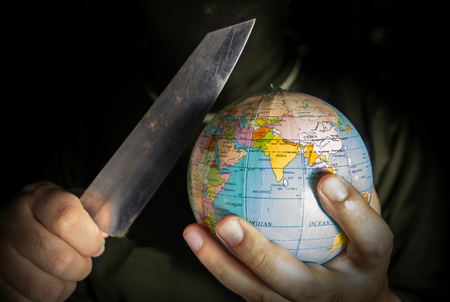 Danger terrorist for the world,crime and terror concept.
