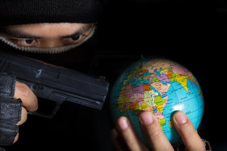 Danger terrorist for the world,social problem. photo