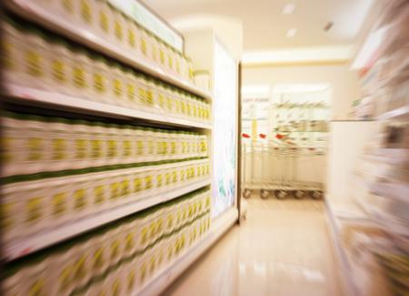 cash dispenser: Motion blur focused of supermarket,background.